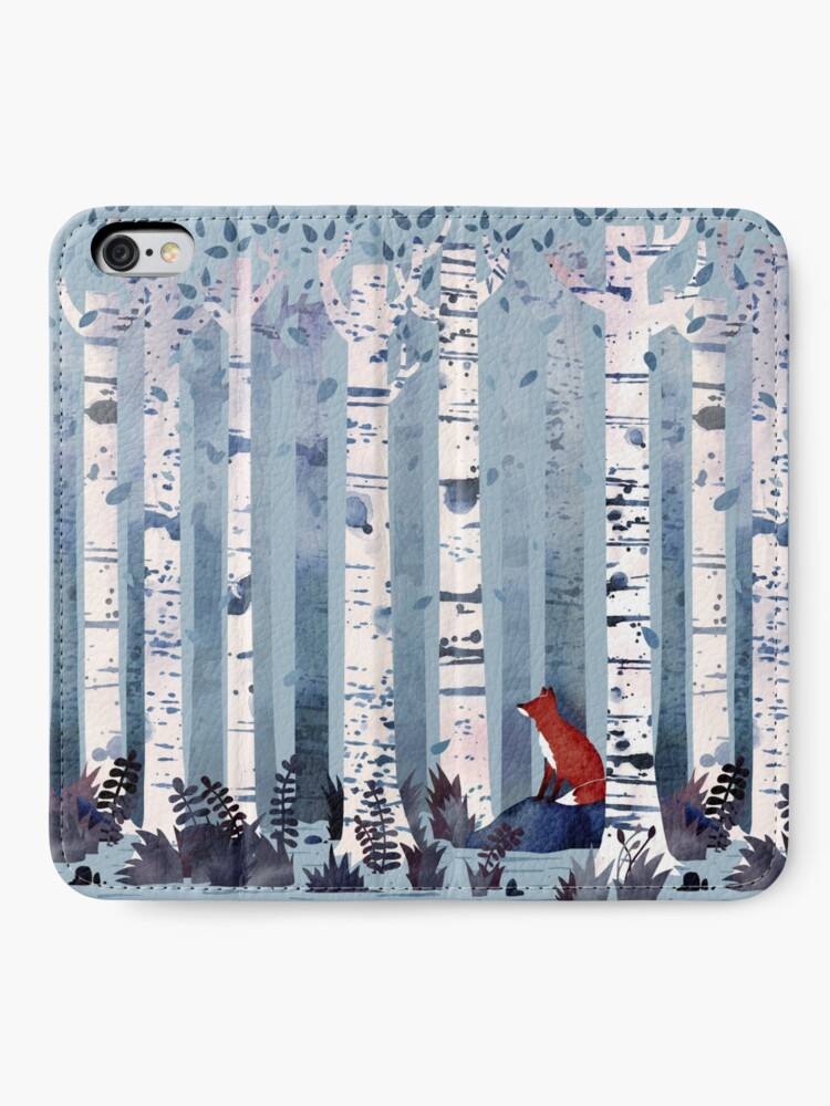 Alternate view of The Birches (in Blue) iPhone Wallet