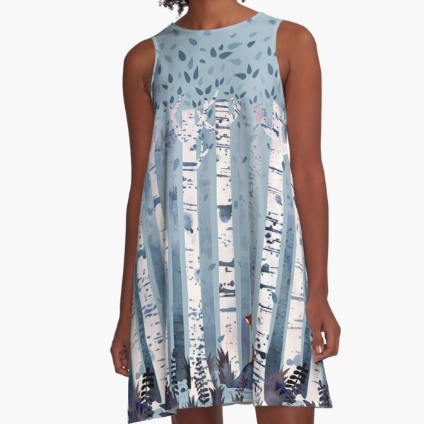 The Birches (in Blue) A-Line Dress