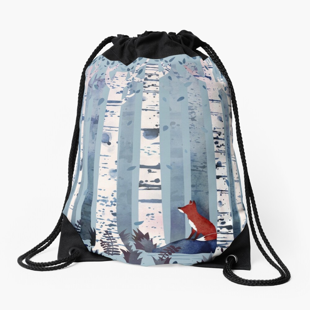 The Birches (in Blue) Drawstring Bag