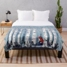 The Birches (in Blue) Throw Blanket