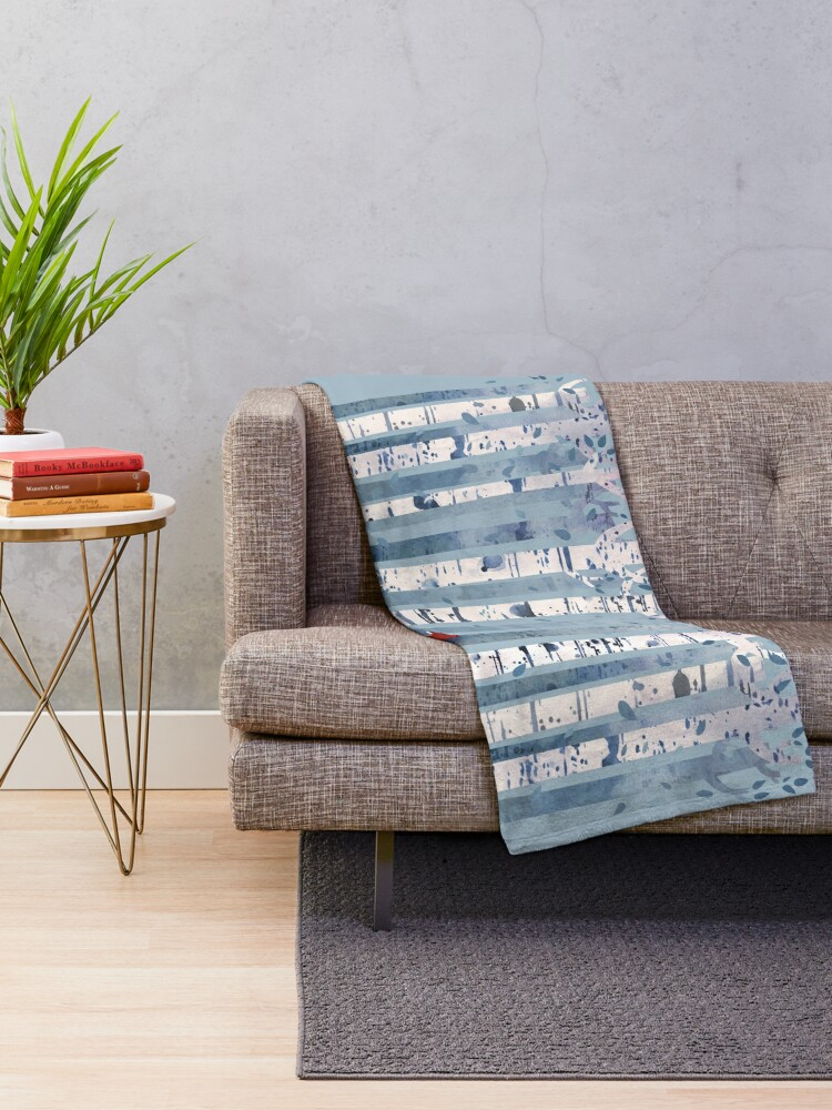 Alternate view of The Birches (in Blue) Throw Blanket