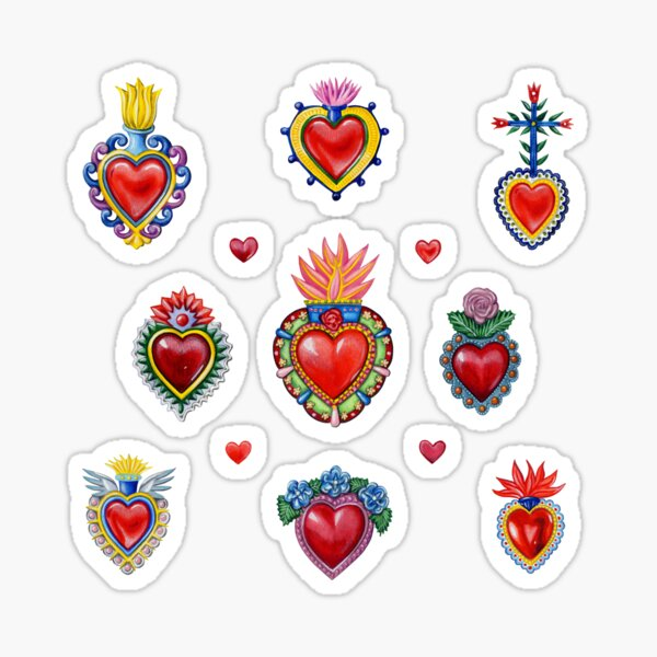 Mexican Sacred Hearts Sticker