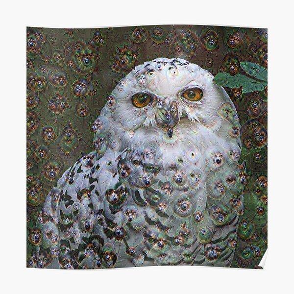 Dream Creatures, Snowy Owl 001, DeepDream (Schnee-Eule) Poster