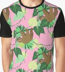 Sloth - Green on Pink Graphic T-Shirt