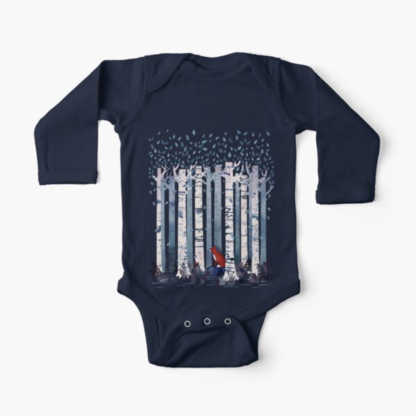 The Birches (in Blue) Long Sleeve Baby One-Piece