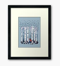 The Birches (in Blue) Framed Print