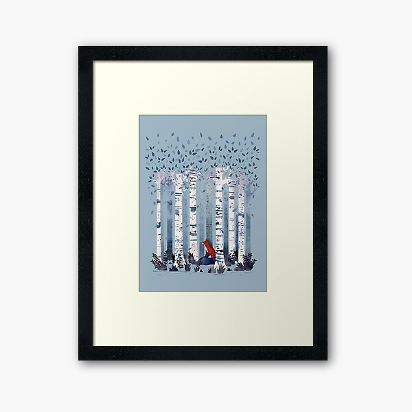 The Birches (in Blue) Framed Art Print