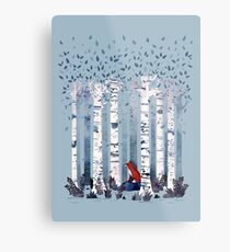The Birches (in Blue) Metal Print