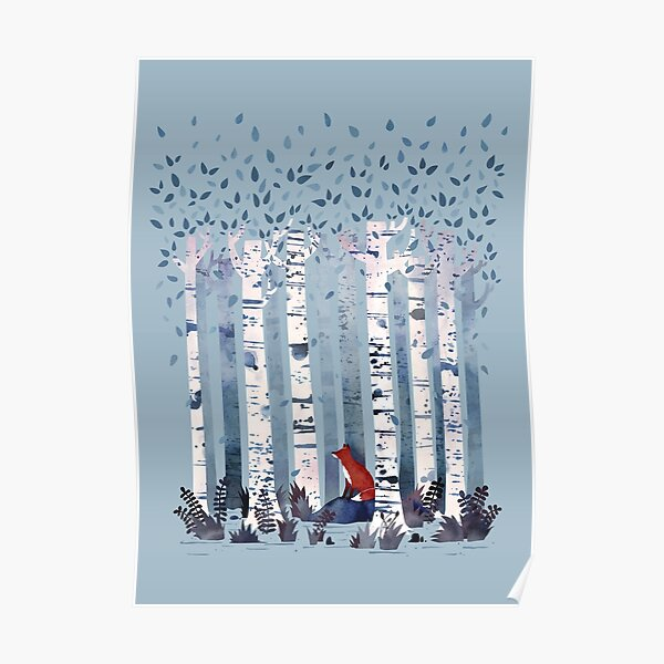 The Birches (in Blue) Poster