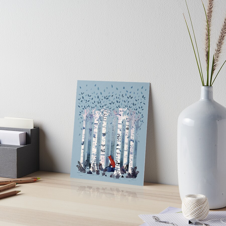The Birches (in Blue) Art Board Print