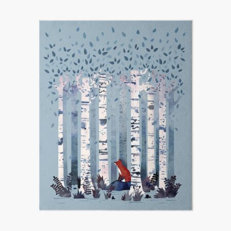 The Birches (in Blue) Art Board Print
