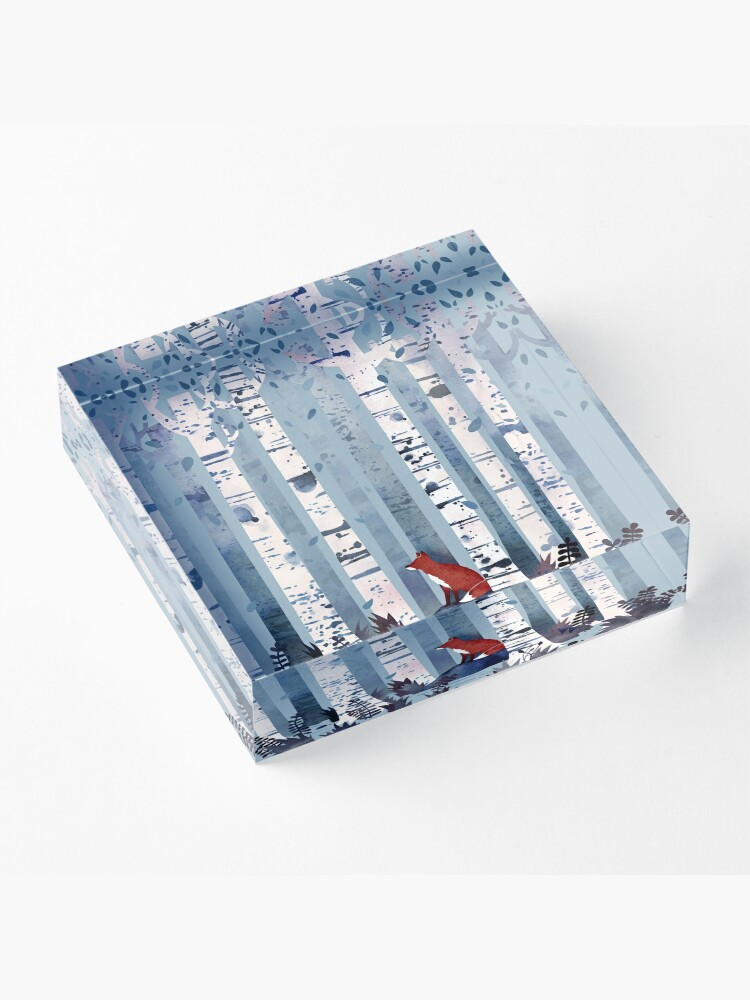 Alternate view of The Birches (in Blue) Acrylic Block