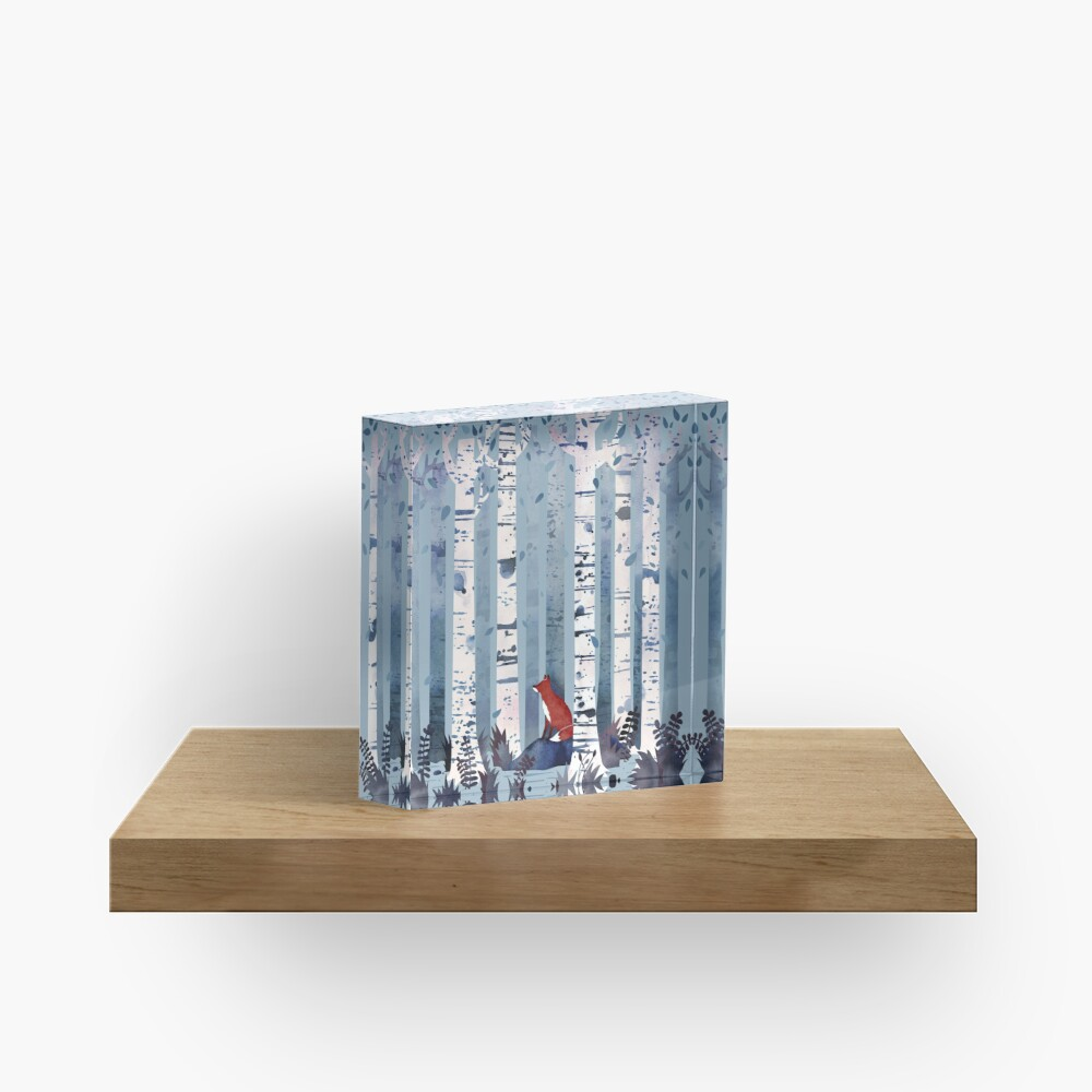 The Birches (in Blue) Acrylic Block