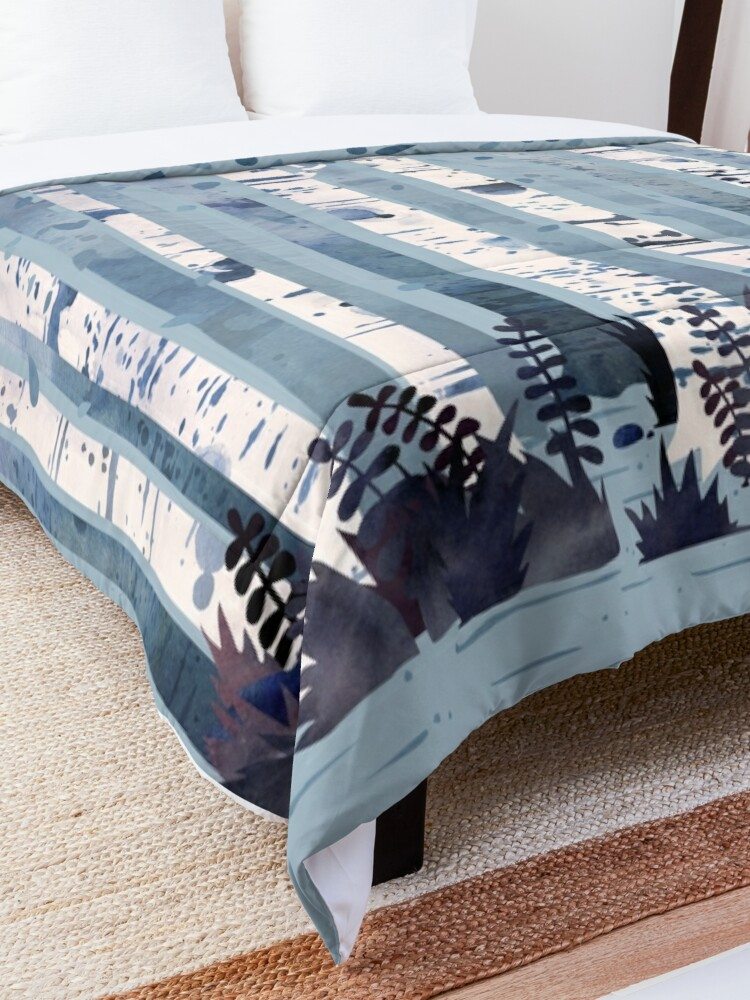 Alternate view of The Birches (in Blue) Comforter