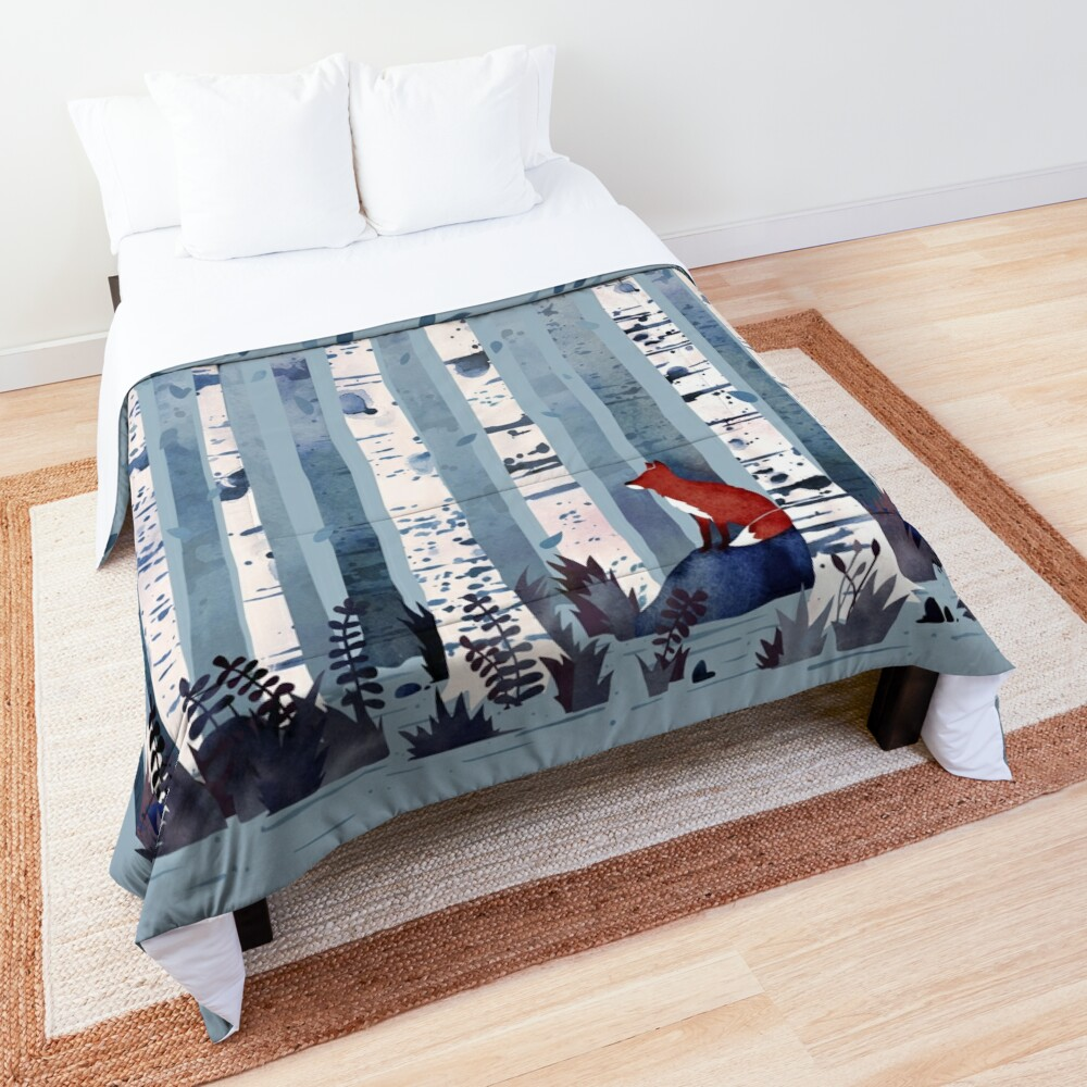 The Birches (in Blue) Comforter