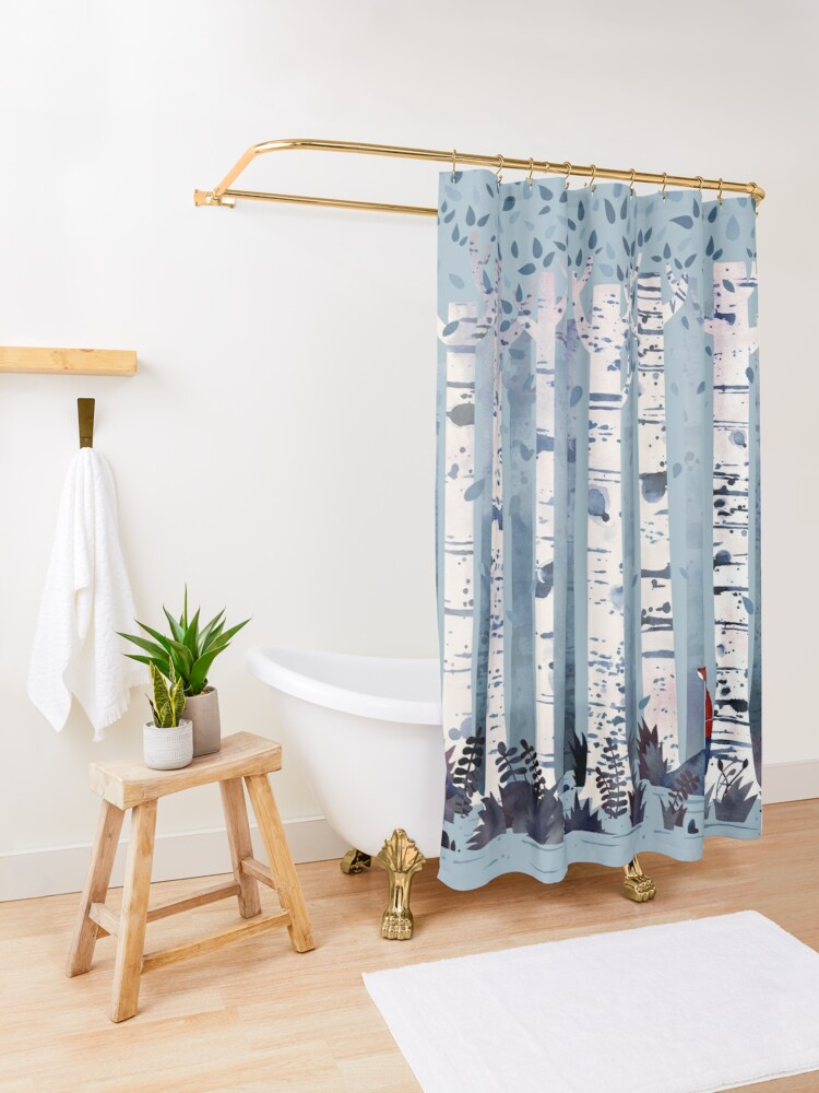 Alternate view of The Birches (in Blue) Shower Curtain