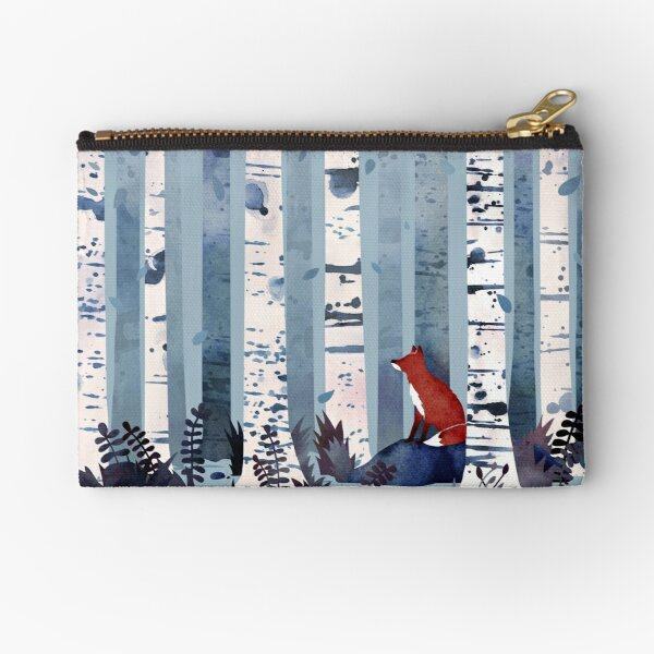 The Birches (in Blue) Zipper Pouch