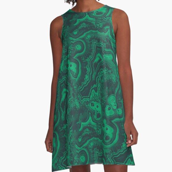 Malachite Print A-Line Dress