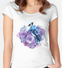 Blue Jay and Violet Flowers Watercolor  Women's Fitted Scoop T-Shirt
