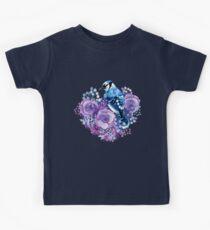 Blue Jay and Violet Flowers Watercolor  Kids Tee