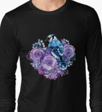 Blue Jay and Violet Flowers Watercolor  T-Shirt