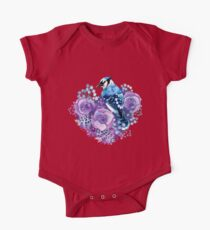 Blue Jay and Violet Flowers Watercolor  One Piece - Short Sleeve