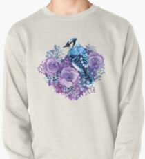 Blue Jay and Violet Flowers Watercolor  Pullover