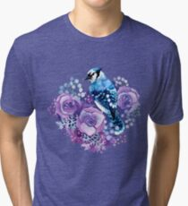 Blue Jay and Violet Flowers Watercolor  Tri-blend T-Shirt