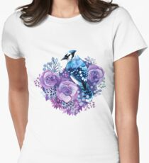 Blue Jay and Violet Flowers Watercolor  Womens Fitted T-Shirt