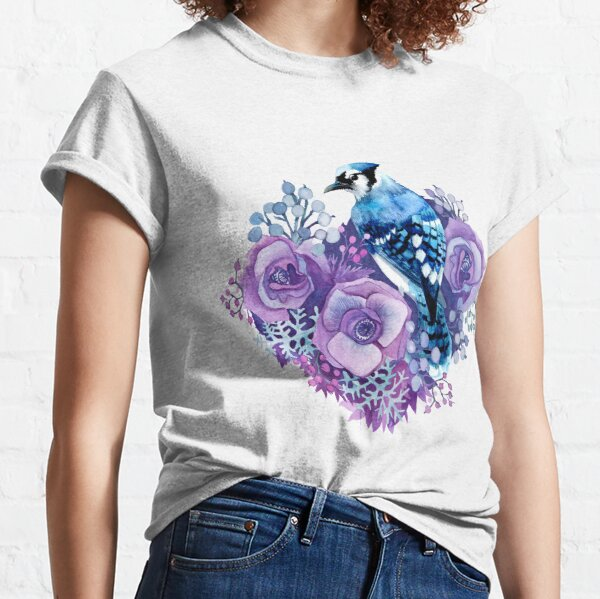 Blue Jay and Violet Flowers Watercolor  Classic T-Shirt