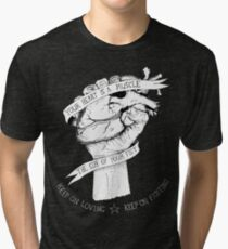 Camiseta de tejido mixto Tu corazón es un reverso muscular