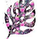 Tropical Leaf - Philodendron Black Pink by Ekaterina Chernova