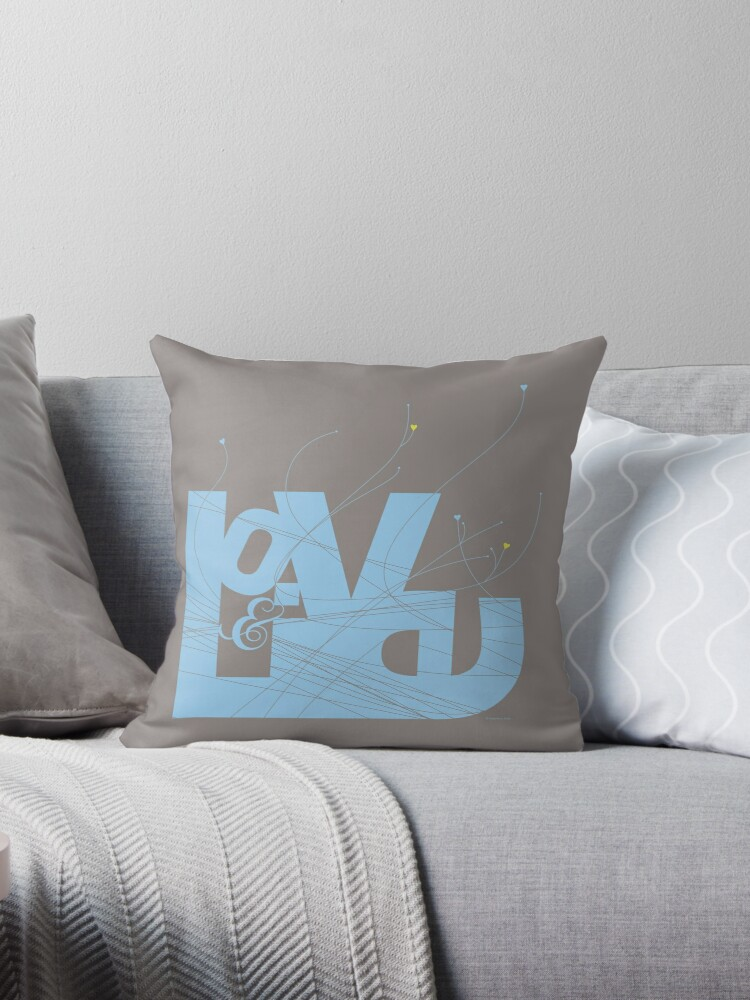 love and live blue throw pillows by feigenherz redbubble. Black Bedroom Furniture Sets. Home Design Ideas
