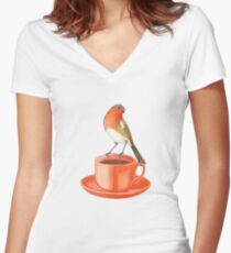 coffee loving robin bird Women's Fitted V-Neck T-Shirt