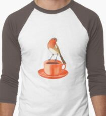 coffee loving robin bird Men's Baseball ¾ T-Shirt