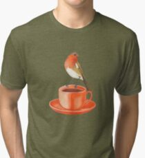 coffee loving robin bird Tri-blend T-Shirt