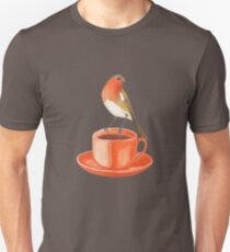 coffee loving robin bird Unisex T-Shirt
