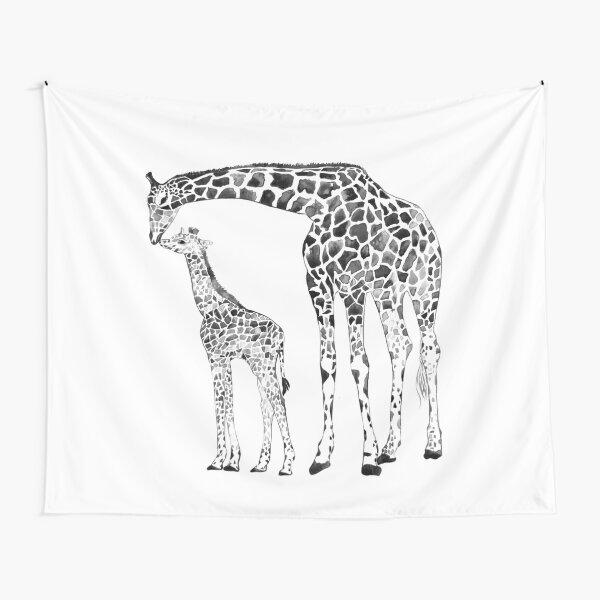 Giraffe, black and white Tapestry