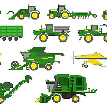 Farm Vehicles - The Kids' Picture Show - Pixel Art by KidsPictureShow