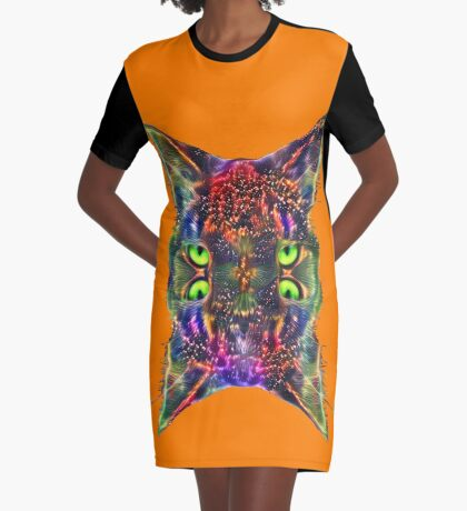 Artificial neural style Space galaxy mirror cat Graphic T-Shirt Dress