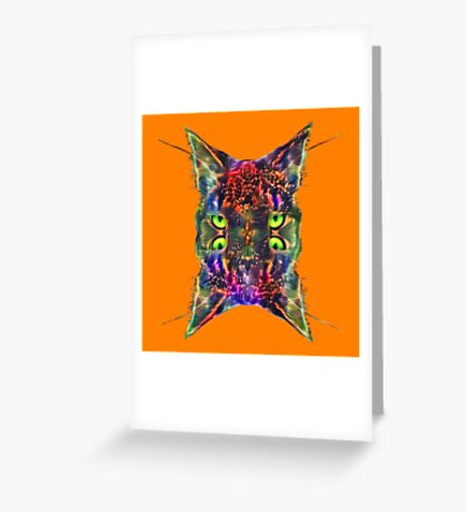 Artificial neural style Space galaxy mirror cat Greeting Card