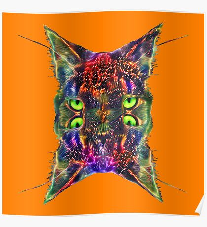 Artificial neural style Space galaxy mirror cat Poster