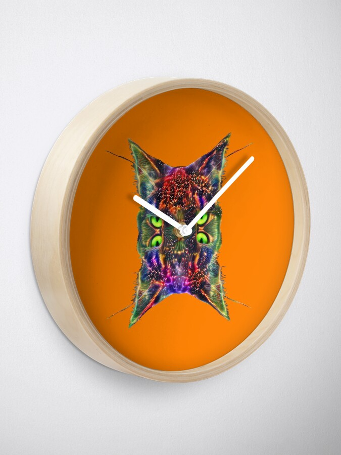 Alternate view of Artificial neural style Space galaxy mirror cat Clock