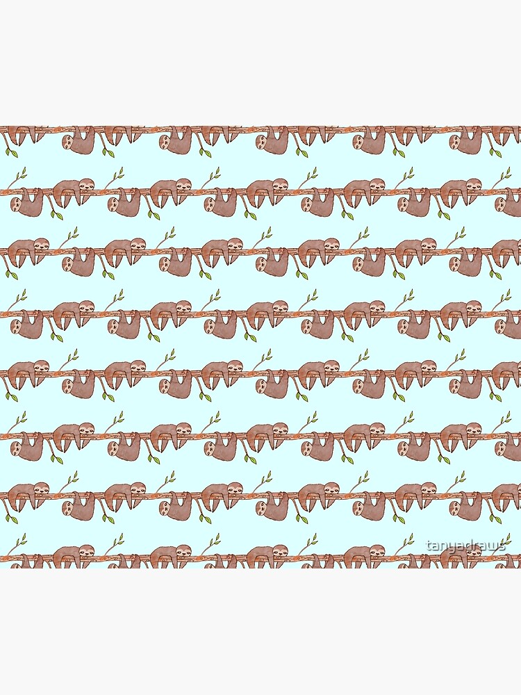 Baby Sloths hanging on Tree Pattern by tanyadraws