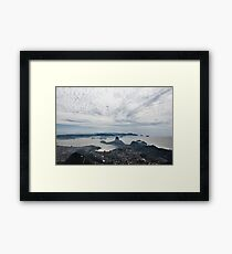 A beautiful panorama of the sugarloaf mountain and clouds Framed Print