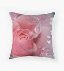 dew incrustered tea rose Throw Pillow