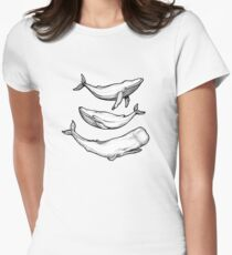 Whales in black Womens Fitted T-Shirt
