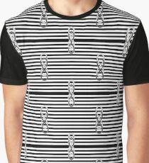 Black White Stripes Double Lemniscate Tiles Pattern Graphic T-Shirt