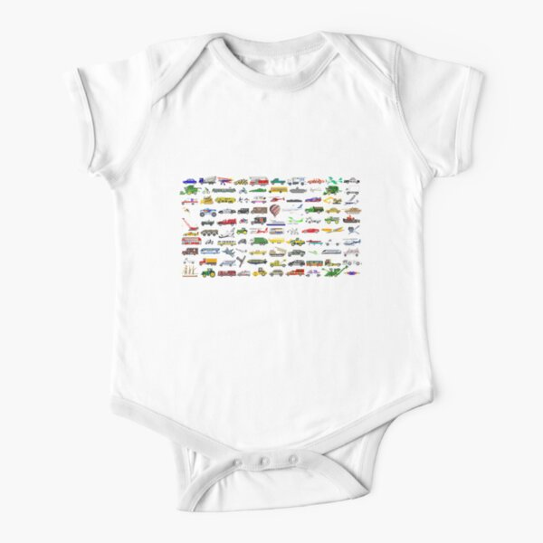 100 Vehicles - The Kids' Picture Show Short Sleeve Baby One-Piece