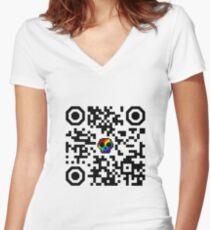 I hate QR codes T-shirt col V femme